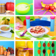 Baby food collage — Stock Photo