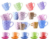 Colorful cups isolated on white — Stok fotoğraf