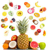 Collage of fresh fruits isolated on white — Stock Photo