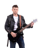 Young musician playing guitar, isolated on white — Stock Photo