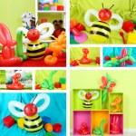 Collage of simple balloon animals — Stock Photo