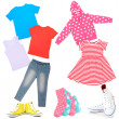 Постер, плакат: Collage of kids clothing isolated on white