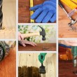 Collage of working man and carpentry tools — Stock Photo #39908249