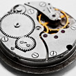 Clockwork details, pinions and wheels — Stock Photo