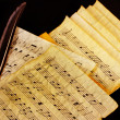 Musical notes and feather — Stockfoto #39908389