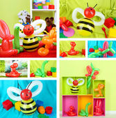 Collage of simple balloon animals — Stock Photo