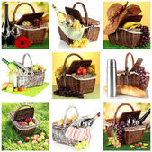 Collage of picnic baskets close-up — Stock Photo