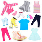 Collage of kids clothing isolated on white — Стоковое фото