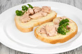 Savoureux sandwiches avec foie de thon et de morue sardines, sur plaque blanche. sur le fond en bois — Photo