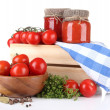 Tasty tomato sauce and fresh tomatoes, isolated on white — Stock Photo
