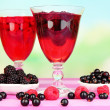 Jelly with fresh berries on pink wooden table — Stock Photo #39947803