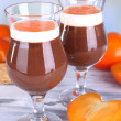 Stock Photo: Dessert of chocolate and persimmon on table on light background