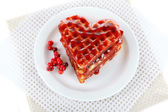 Sweet Belgium waffles with jam, isolated on white — Stock Photo