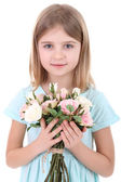 Beautiful little girl holding bouquet isolated on white — Stock Photo