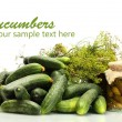 Fresh cucumbers, pickles and dill isolated on white — Stock Photo #39955867