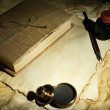 Wooden stamp, book and old papers, close up — Stock Photo