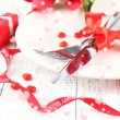 Romantic holiday table setting, close up — Stock Photo #39956965