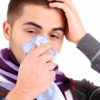 Stock Photo: Sick young man, isolated on white