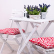 Stock Photo: Garden chairs and table with flowers on white background