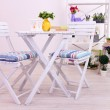 Garden chairs and table with flowers on shelves on white background — Stock Photo