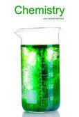 Brillantemente l'inchiostro in una boccetta con acqua isolata su bianco — Foto Stock