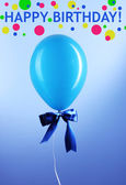 Blue one balloon on blue background — Stock Photo