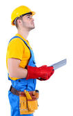 Young worker isolated on white — Stock Photo