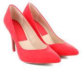 Mooie rode vrouwelijke schoenen, geïsoleerd op wit — Stockfoto
