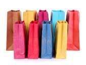 Kleurrijke boodschappentassen, geïsoleerd op wit — Stockfoto