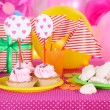 Festive table setting for birthday on celebratory decorations — Stock Photo #39960171