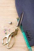 Business suit tailoring, on wooden background — Foto Stock