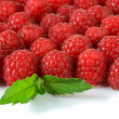 Ripe sweet raspberries isolated on white — Stock Photo