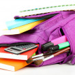 Purple backpack with school supplies isolated on white — Stock Photo #40031545