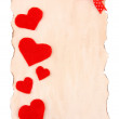 Beautiful sheet of paper with decorative hearts, isolated on white — Stock Photo