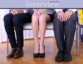 Stressful people waiting for job interview — Stock Photo