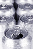 Top of open wet beer can close up — Stock Photo