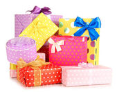 Pile of colorful gifts boxes isolated on white — Foto de Stock