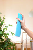 Sprayed air freshener in hand close-up — Foto de Stock