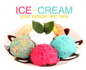 Delicious ice cream isolated on white — Foto Stock