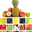 Collage of fresh fruits and berries — Stock Photo #40203189