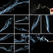 Collage of abstract smoke on black background — 图库照片