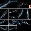 Collage of abstract smoke on black background — Stock Photo