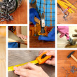 Collage of working man and carpentry tools — Stock Photo #40203425