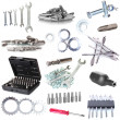 Collage of metal workshop tools isolated on white — Stock Photo
