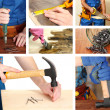 Collage of working man and carpentry tools — Stock Photo