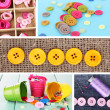 Collage of colorful buttons — Stock Photo