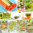 Collage of different salads — Stok Fotoğraf #40203789