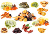 Collage of dried fruits isolated on white — Stock Photo