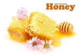 Zlatý voštiny, lučních květin a dřevěné drizzler s medem izolovaných na bílém — Stock fotografie