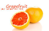 Ripe grapefruit and half isolated on white — ストック写真
